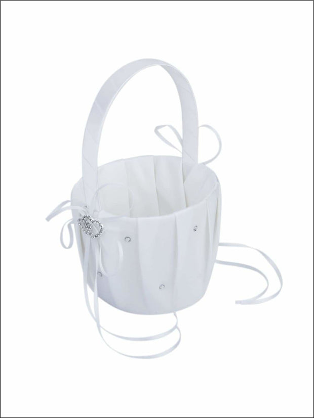 White Flower Girl Basket and Ring Pillow ( set 2 pcs) - Wedding Basket and Ring Pillow