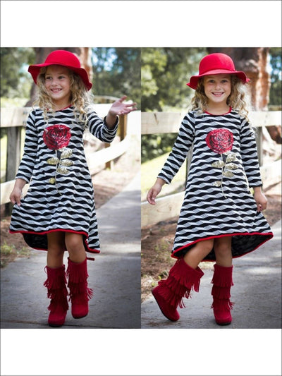 White/Black Hi Low A-Line Knitted Dress (SEPT16DR1WB) - 2T / White/Black - Fall Low Stock