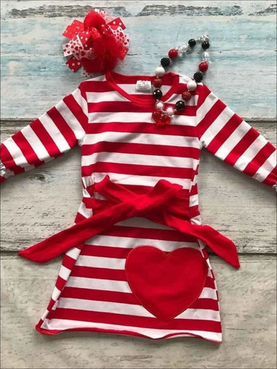 White/Red Striped Long Sleeve Dress w/Large Heart (Ships 4-5 weeks after purchase) - 2T / White/Red