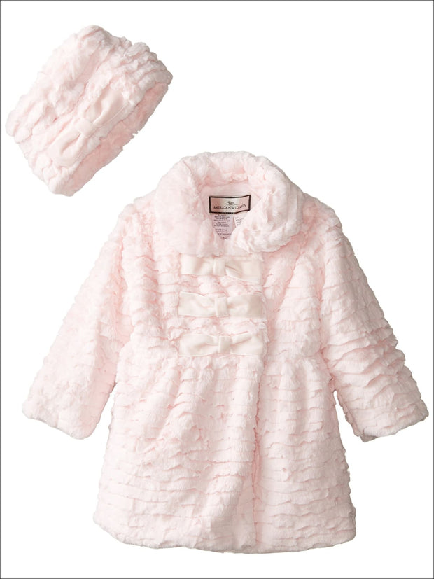 Widgeon Little Girls 3 Bow Faux Fur Coat with Hat color Pink - Girls Jacket