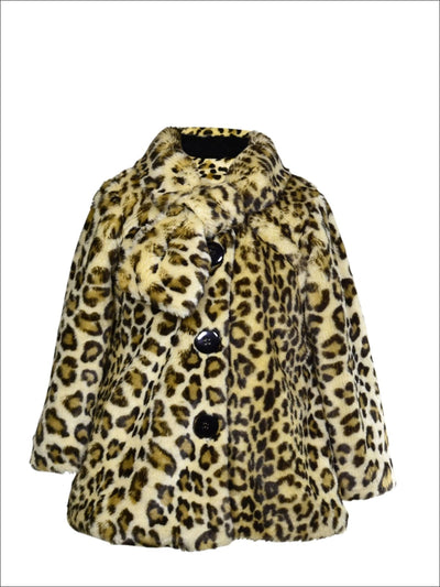 Widgeon Little Girls Leopard Faux Fur Coat - Girls Jacket