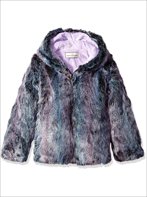 Widgeon Little Girls Long Faux Fur Hooded Zip Front Jacket Purple Mist - Girls Jacket