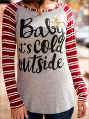 Women Baby is cold outside Striped Long Sleeve Top - Womens Tops