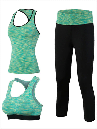 Womens 3pcs Contrast Panel Marled Workout Set - Green / S - Womens Activewear