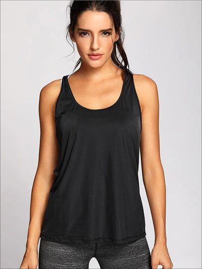 Womens Active Mesh Back Tank Top - XS / Black - Womens Activewear