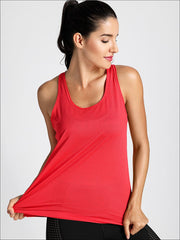 Womens Active Strappy Back Tank Top - XS / Red - Womens Activewear
