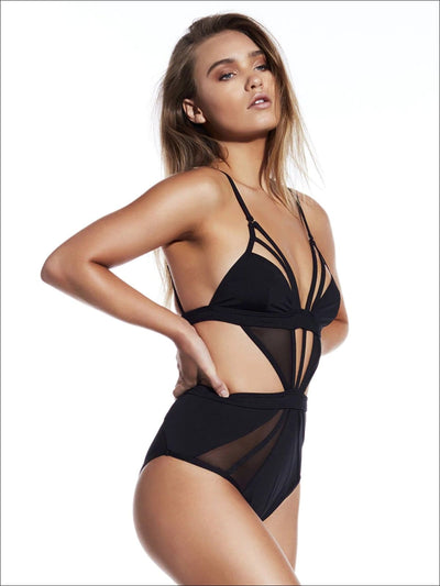 Womens Backless High Waist Mesh One Piece Swimsuit - Black / S - Womens Swimsuits