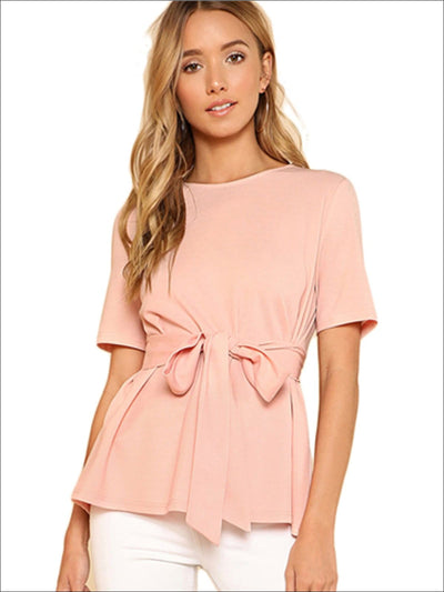 Womens Basic Belted Short Sleeve Blouse - Womens Tops