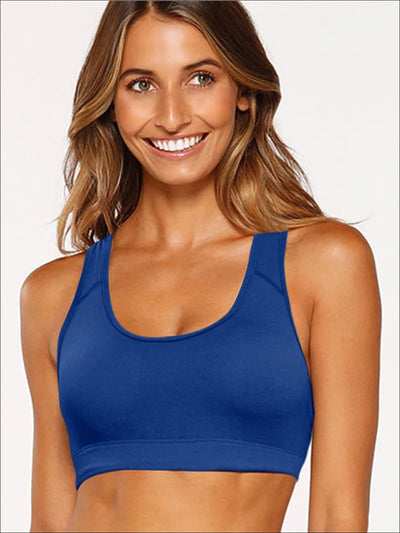 Womens Basic Padded Sports Bra - Blue / S - Womens Sports Bra