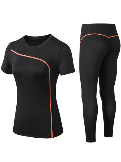 Womens Black Contrast Piping Workout Top & Leggings Set - Orange / S - Womens Activewear