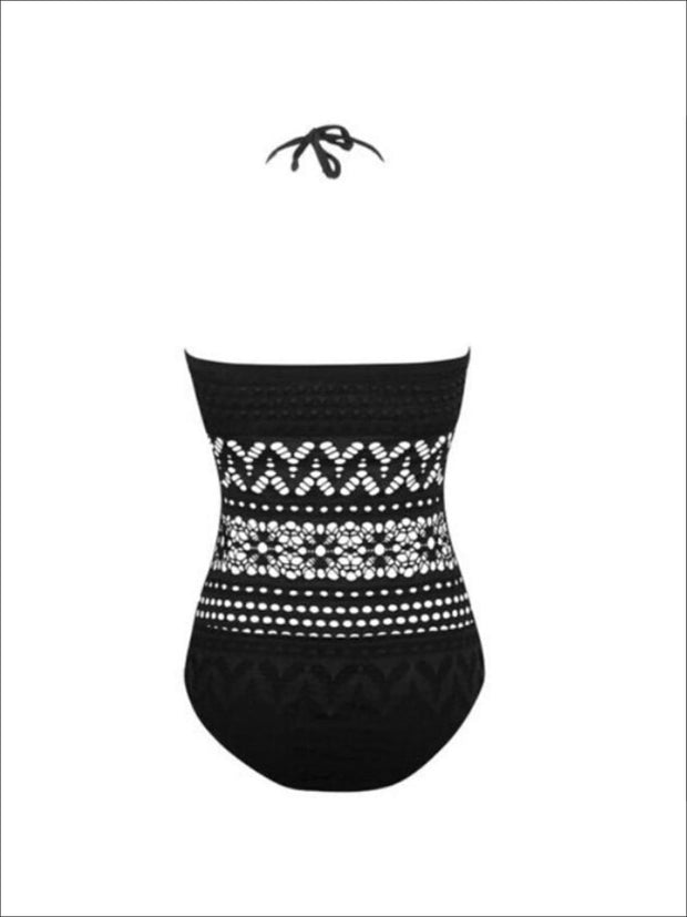 Womens Black Crochet One Piece Plus Size Swimsuit - Womens Swimsuit