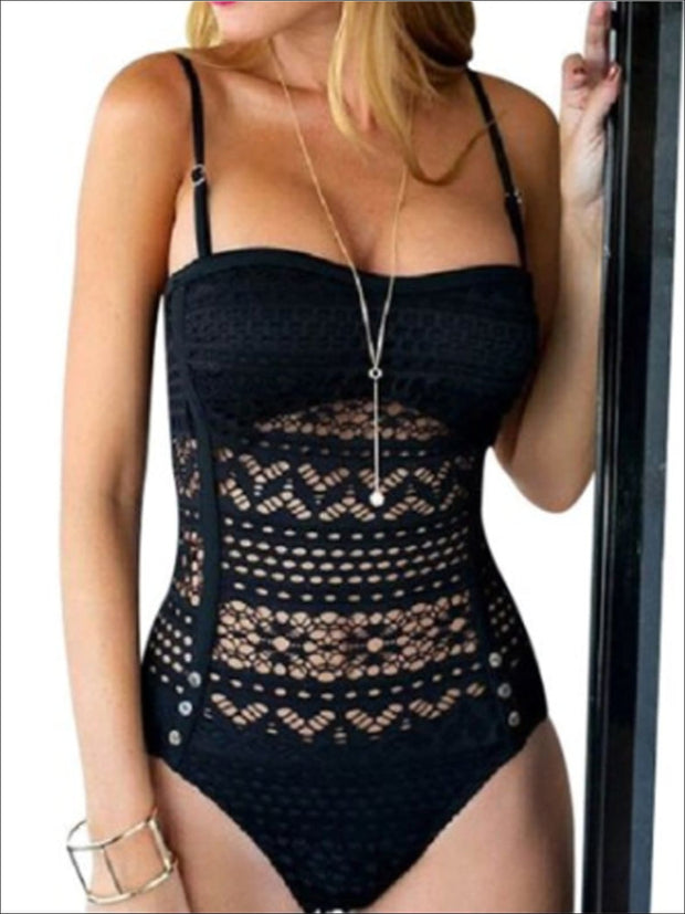 Womens Black Crochet One Piece Plus Size Swimsuit - Womens Swimsuits