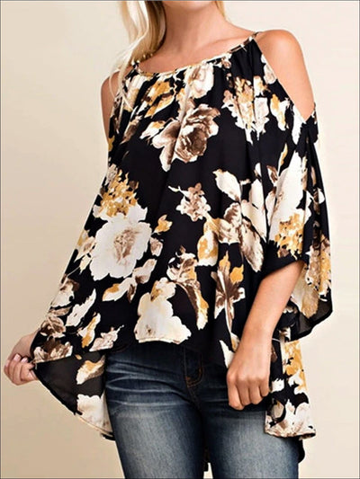 Womens Black Floral Cold Shoulder Hi-Low Tunic - Floral / S - Womens Tops