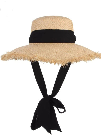 Womens Black Lace Tie Frayed Straw Hat - Black & Brown - Womens Accessories