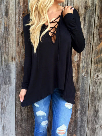 Womens Black Long Sleeve Criss Cross Neck Deep V Tunic - Black / S - Womens Tops