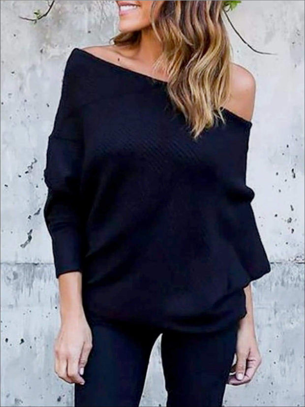 Womens Black Off Shoulder Soft Ribbed Tunic - Womens Tops