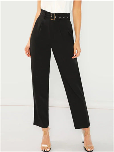 Womens Black Pleated Casual Trousers With Buckle Belt - Black / XS - Womens Bottoms