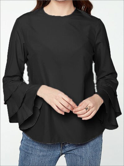 Womens Black Tiered Ruffle Sleeve Blouse - Womens Tops