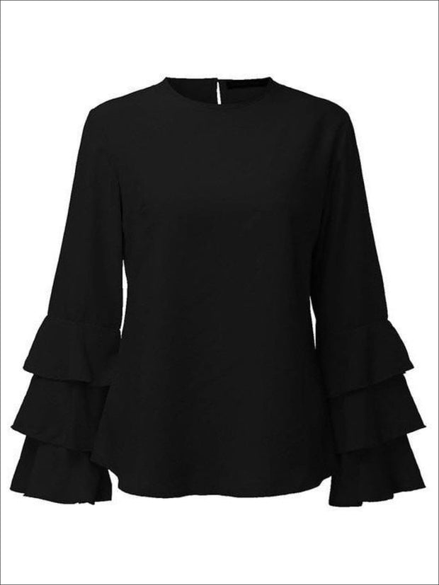 Womens Black Tiered Ruffle Sleeve Blouse - Black / S - Womens Tops