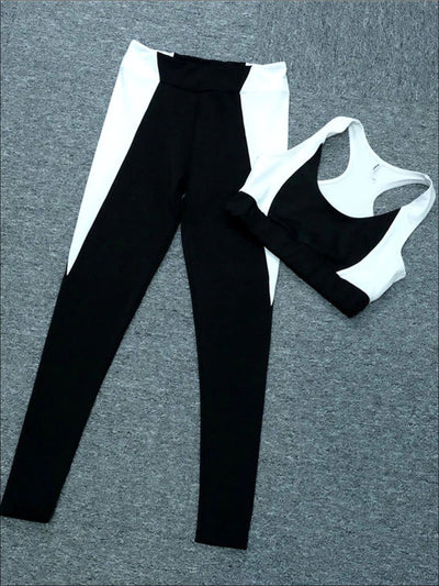 Womens Black & White Sports Bra & Leggings Set - Womens Activewear