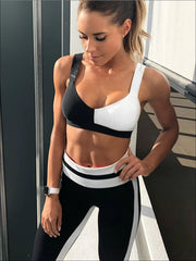 Womens Black & White Two Piece Activewear Set - Womens Activewear