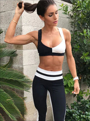 Womens Black & White Two Piece Activewear Set - Black/White / S - Womens Activewear