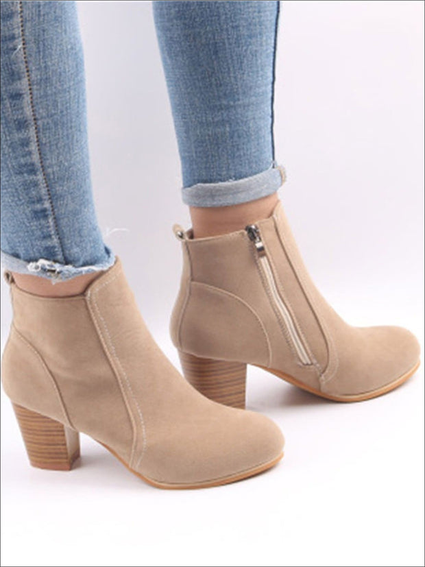 Womens Block Heel Ankle Boots - Beige / 5 - Womens Boots