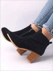 Womens Block Heel Ankle Boots - Black / 5 - Womens Boots