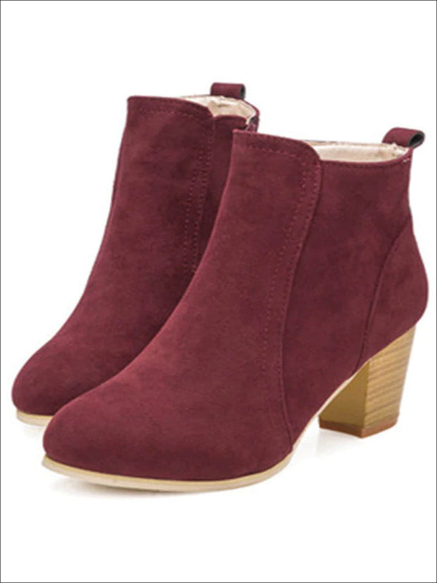 Womens Block Heel Ankle Boots - Red / 5 - Womens Boots