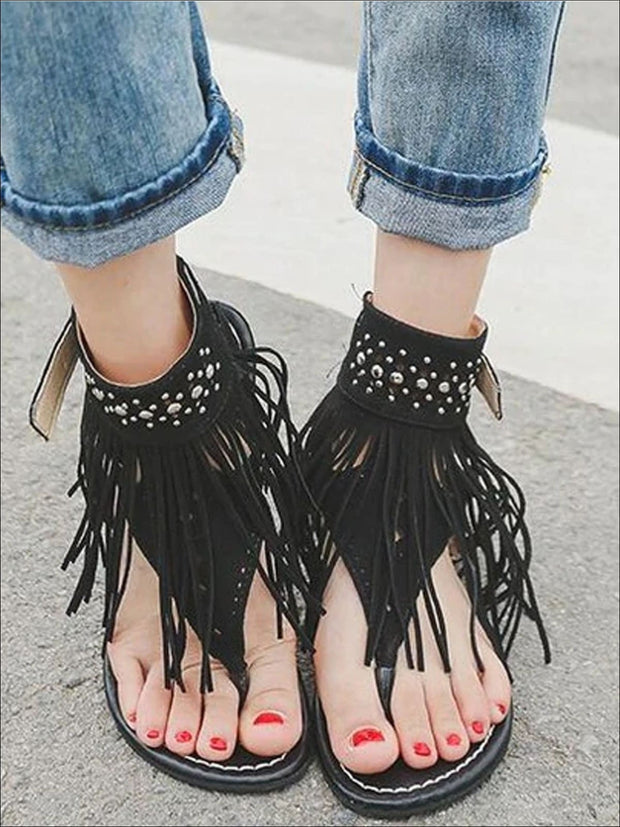 Womens Bohemian Fringe Ankle Strap Sandals - Womens Sandals