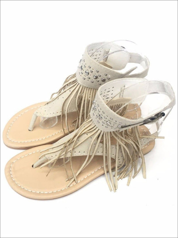 Womens Bohemian Fringe Ankle Strap Sandals - Beige / 4.5 - Womens Sandals