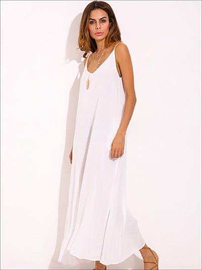 Womens Boho Loose Maxi Dress With Side Pockets - Womens Dresses