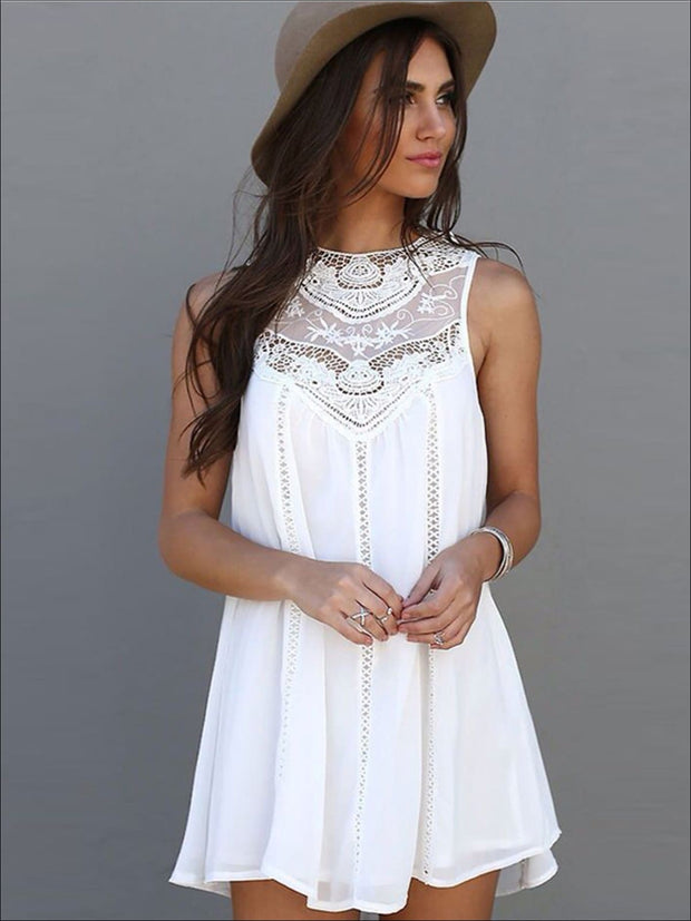 Womens Boho White Lace Sleeveless Tunic Dress - White / S - Womens Dresses