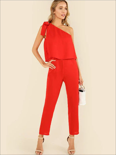 Womens Bow Tied One Shoulder Jumpsuit - Red / XS - Womens Jumpsuits