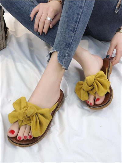 Womens Bowknot Slip On Flat Sandals - Womens Sandals