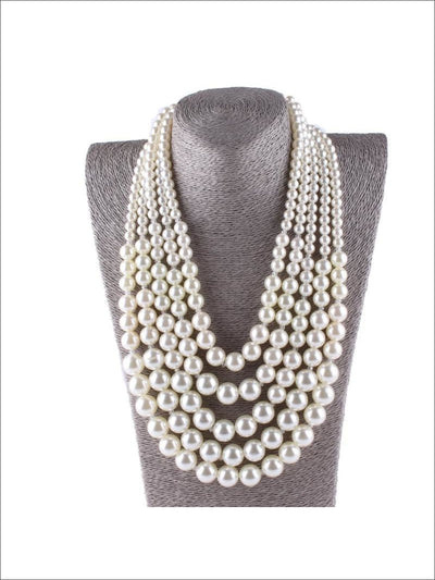 Womens Breakfast at Tiffanys Multi-Layer Pearl Necklace - Accessories