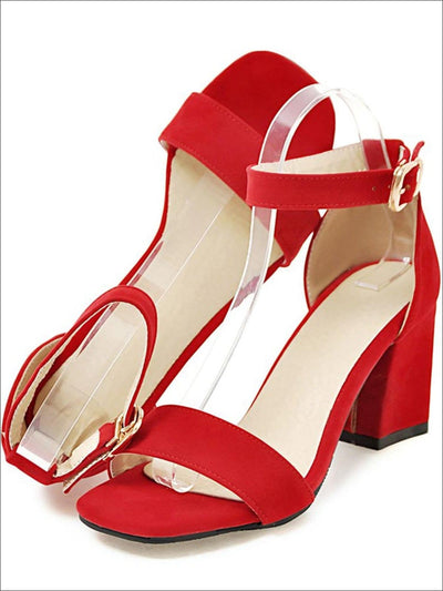 Womens Buckle Ankle Strap Chunky Heel Sandals - Womens Sandals
