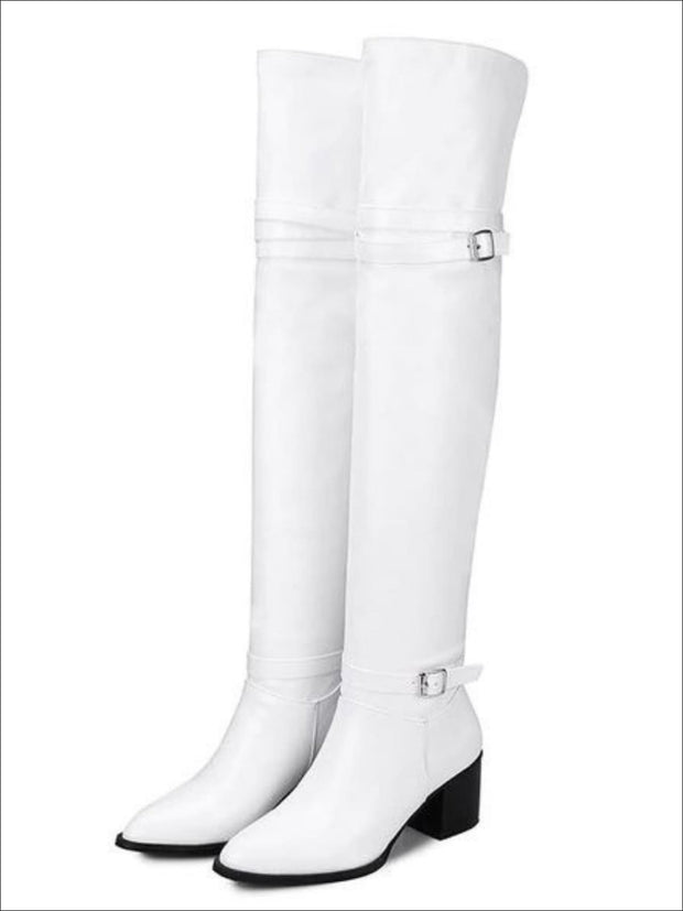 Womens Buckle Strap Over the Knee Boots (Black & White) - White / 3 - Womens Boots
