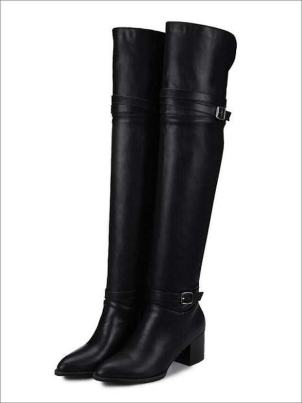 Womens Buckle Strap Over the Knee Boots (Black & White) - Black / 3 - Womens Boots