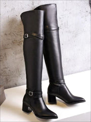 Womens Buckle Strap Over the Knee Boots (Black & White) - Womens Boots