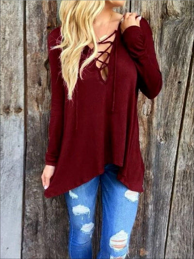 Womens Burgundy Long Sleeve Criss Cross Deep V Tunic - Burgundy / Small - Womens Tops