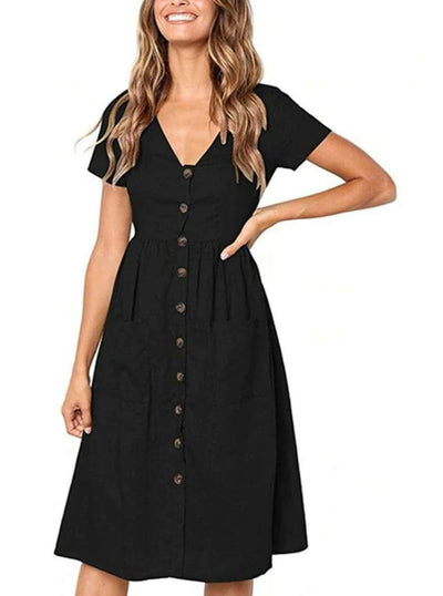 Womens Button Down Casual Dress With Front Square Pockets - Womens Dresses