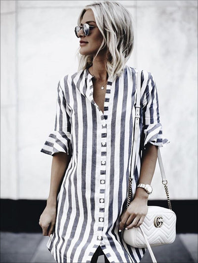 Womens Button Up Striped Tunic Blouse With Half Ruffle Sleeve - Womens Tops