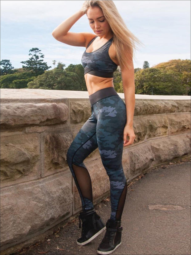Womens Camo Print Sports Bra & Mesh Leggings Set (3 color Options) - Womens Activewear