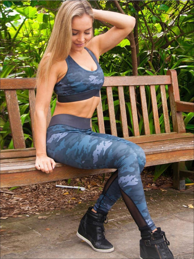 Womens Camo Print Sports Bra & Mesh Leggings Set (3 color Options) - Navy / S - Womens Activewear