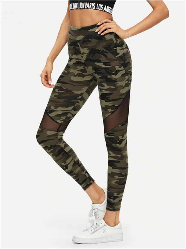 Womens Camouflage Mesh Fashion Athleisure Leggings - Womens Bottoms