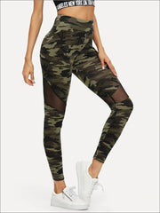 Womens Camouflage Mesh Fashion Athleisure Leggings - Multicolor / XS - Womens Bottoms