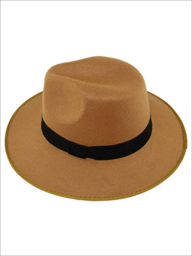 Womens Cashmere Fedora Hat - Khaki - Womens Hats