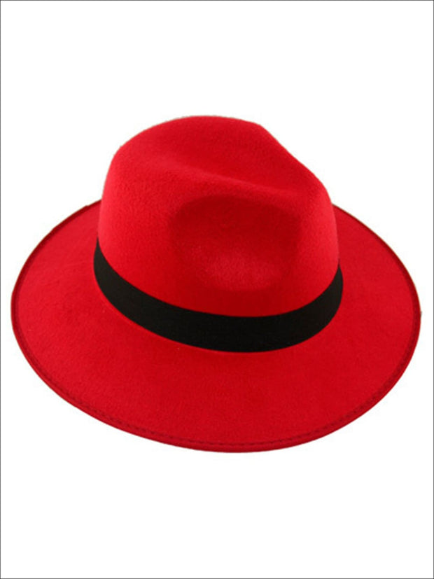 Womens Cashmere Fedora Hat - Red - Womens Hats