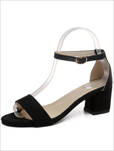 Womens Casual Ankle Strap Block Heel Sandals - Black / 5 - Womens Sandals